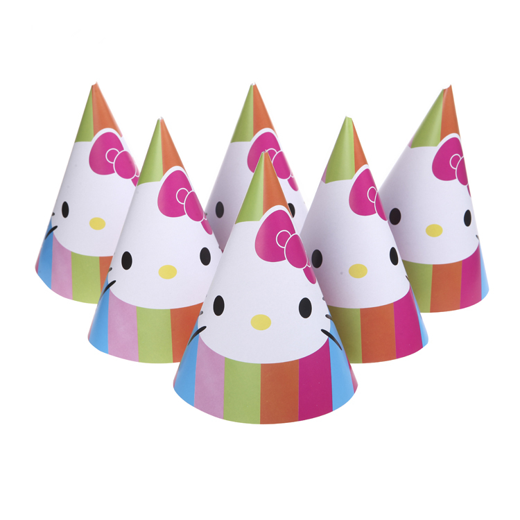 f04cab3bf 6pcs Happy Birthday Party Decoration Cute Child Hello Kitty Cartoon Pattern  Birthday Paper Hat Event Kids Party Supplies