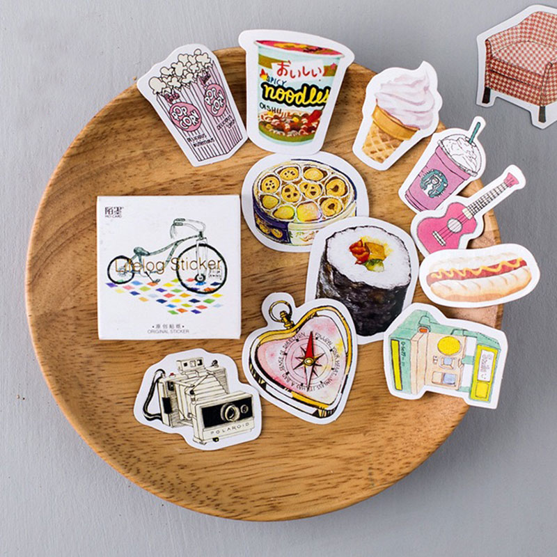 45pcs/pack Kawaii Life Small Things Label Stickers Cute Diary Decoration Scrapbooking DIY Seal Sticker Stationery Free Shipping