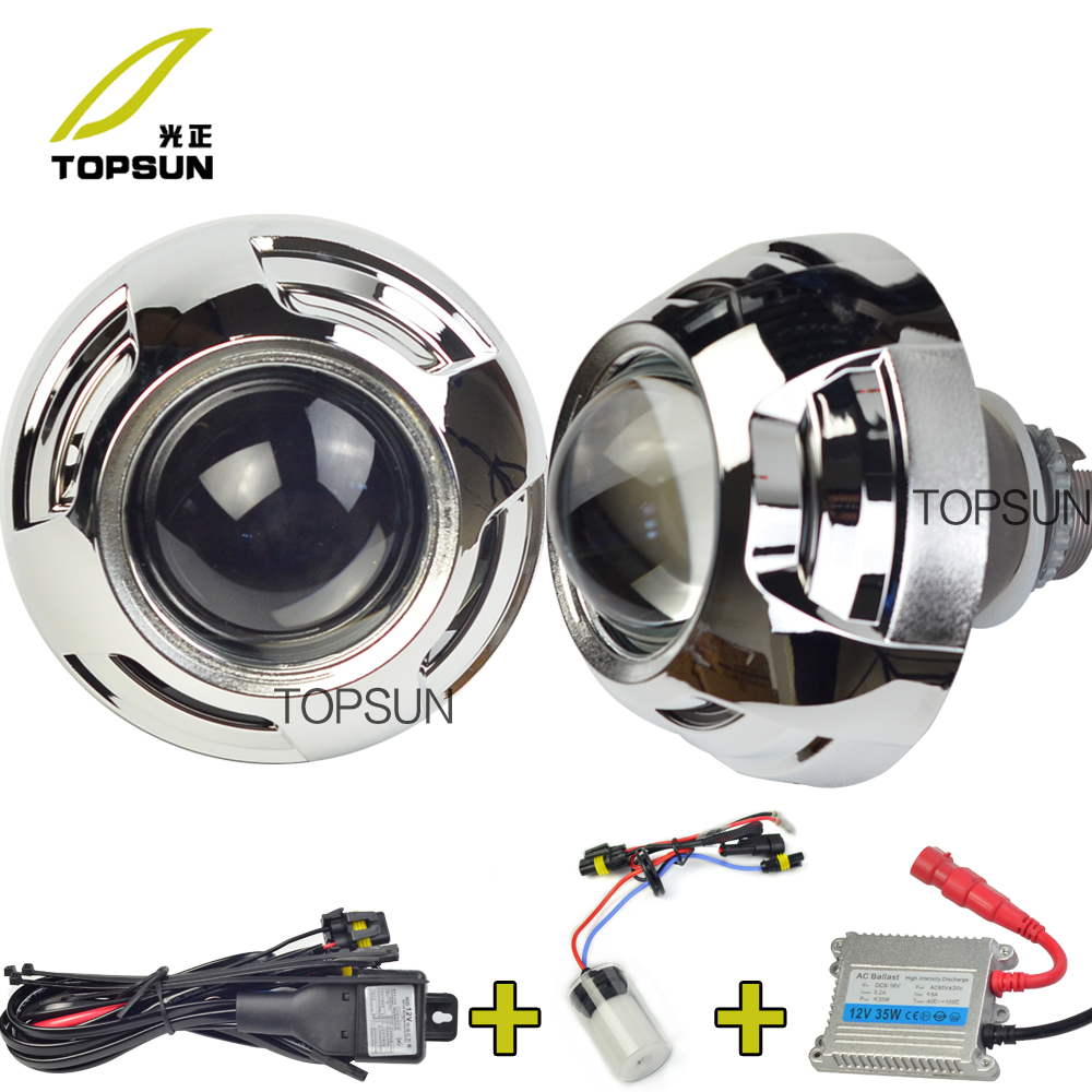 GZTOPHID 3 Inches Koito Q5 H4 Bi-xenon Projector Lens,D2h xenon,35w Ballast,H/L Beam Control Cable,Bezels Shrouds Covers ���������� koito