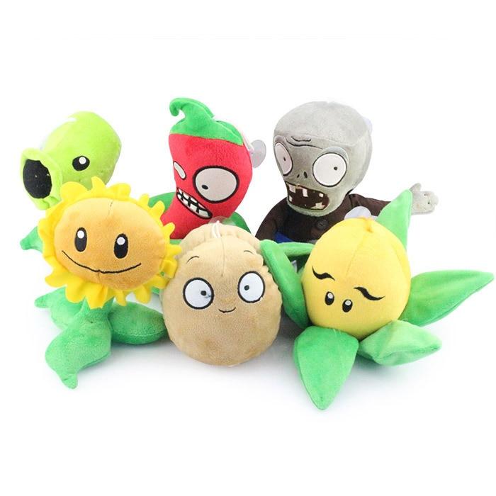 6Pcs/Lot Plants Vs Zombies Stuffed Soft collection PVZ Plush Toy Doll 7  gift for kids