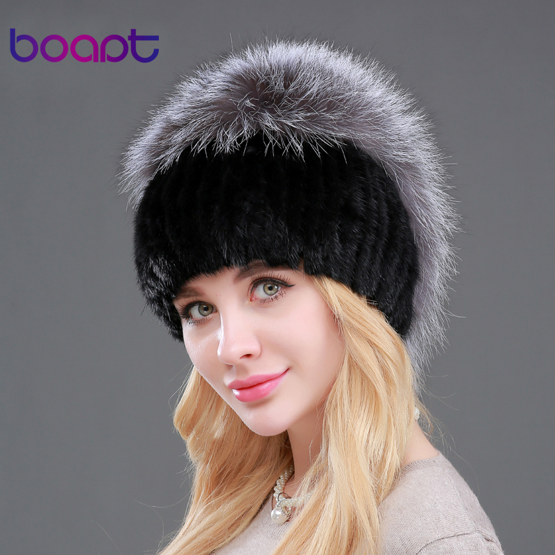 [boapt] Anti-cold new warm women fur hats for winter genuine mink fur skullies with silver fox fur poms top beanies elastic caps autumn winter beanie fur hat knitted wool cap with silver fox fur pompom skullies caps ladies knit winter hats for women beanies