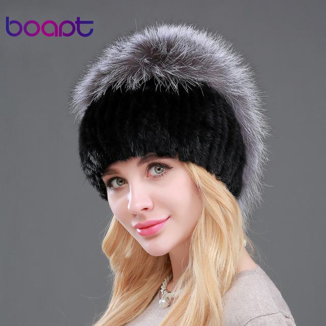 BOAPT Anti-frío nuevo caliente piel de las mujeres sombreros de invierno de visón auténtico gorros skullies de piel con piel de zorro de plata poms superior tapas elásticas