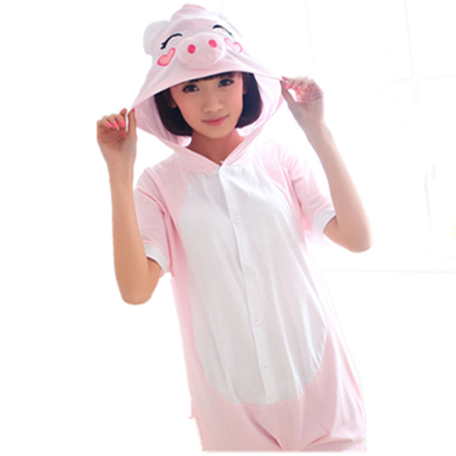 Pink Black Pig Cosplay Costume Summer Jumpsuit Short Sleeve Animal Cute Pig  Pyjamas Cartoon Anime Onesie Adult Child Sleepwear 041afdd808f4