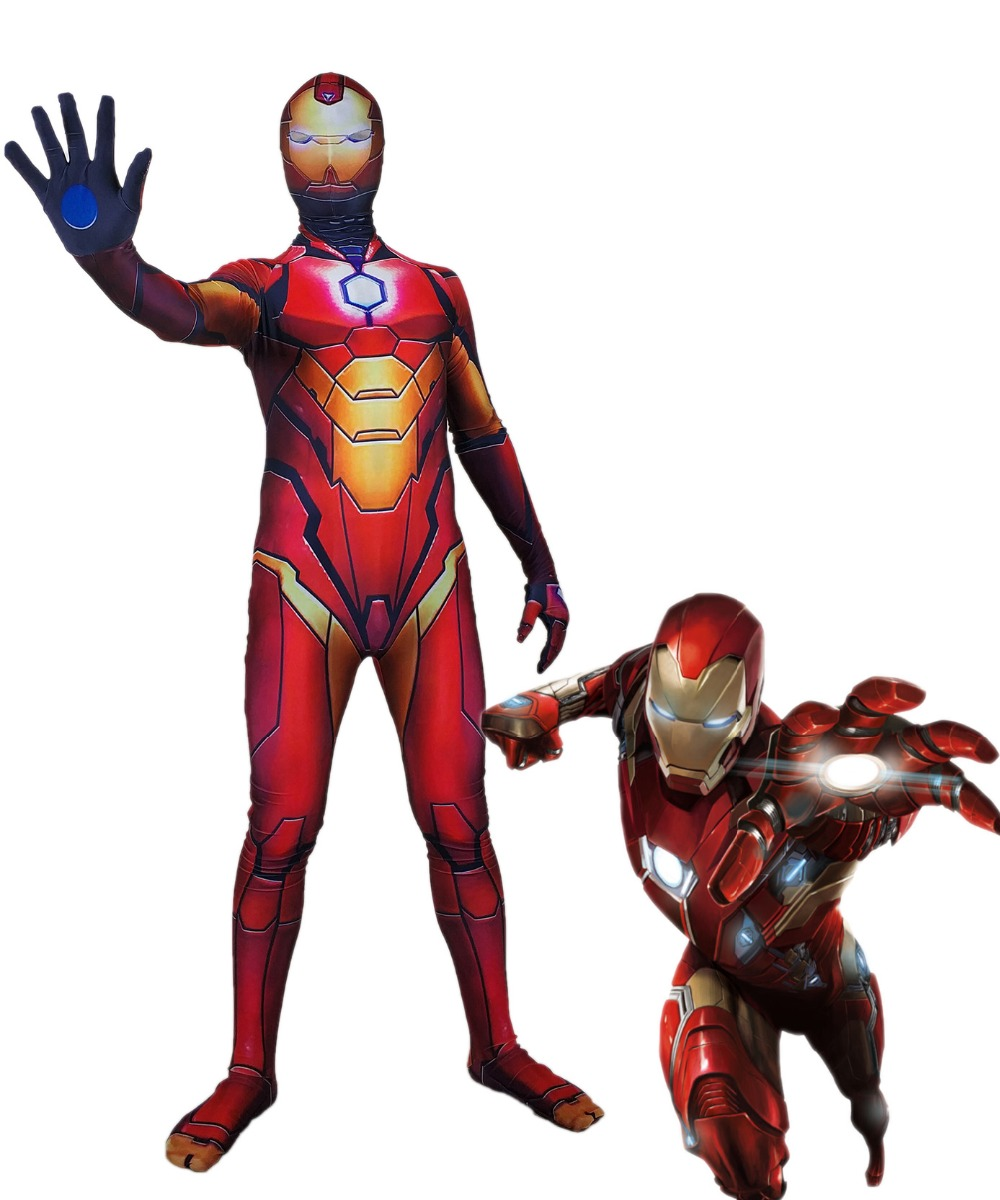 Iron Man costume Cosplay Superhero Costume Lycra Zentai Bodysuit Halloween Party suit free delivery