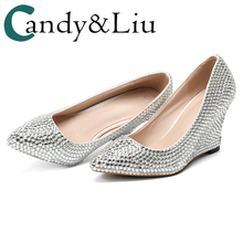 Silver Crystal Shoes Woman Pumps Wedges Pointed Toe Block Party Bling  Rhinestone Decoration Bridesmaid Wedding High e6dee6a74009