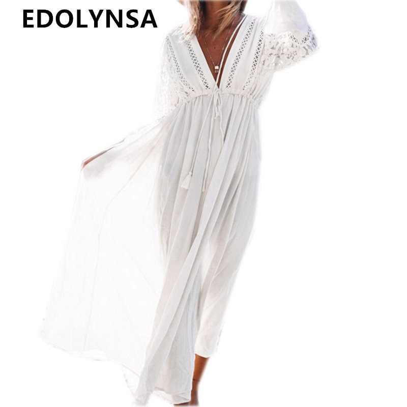 9c8ae393f Boho Глубокий V образным вырезом выдалбливают длинное платье для женщин;  большие размеры Летняя Пляжная туника