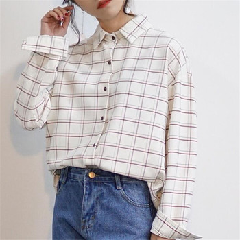 Loose Cotton Checkered plaid Shirt 1