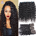 Wet and Wavy Brazilian Virgin Hair With Closure 4 Bundles Water Wave Virgin Hair With closure Ali Moda Human Hair With Closure