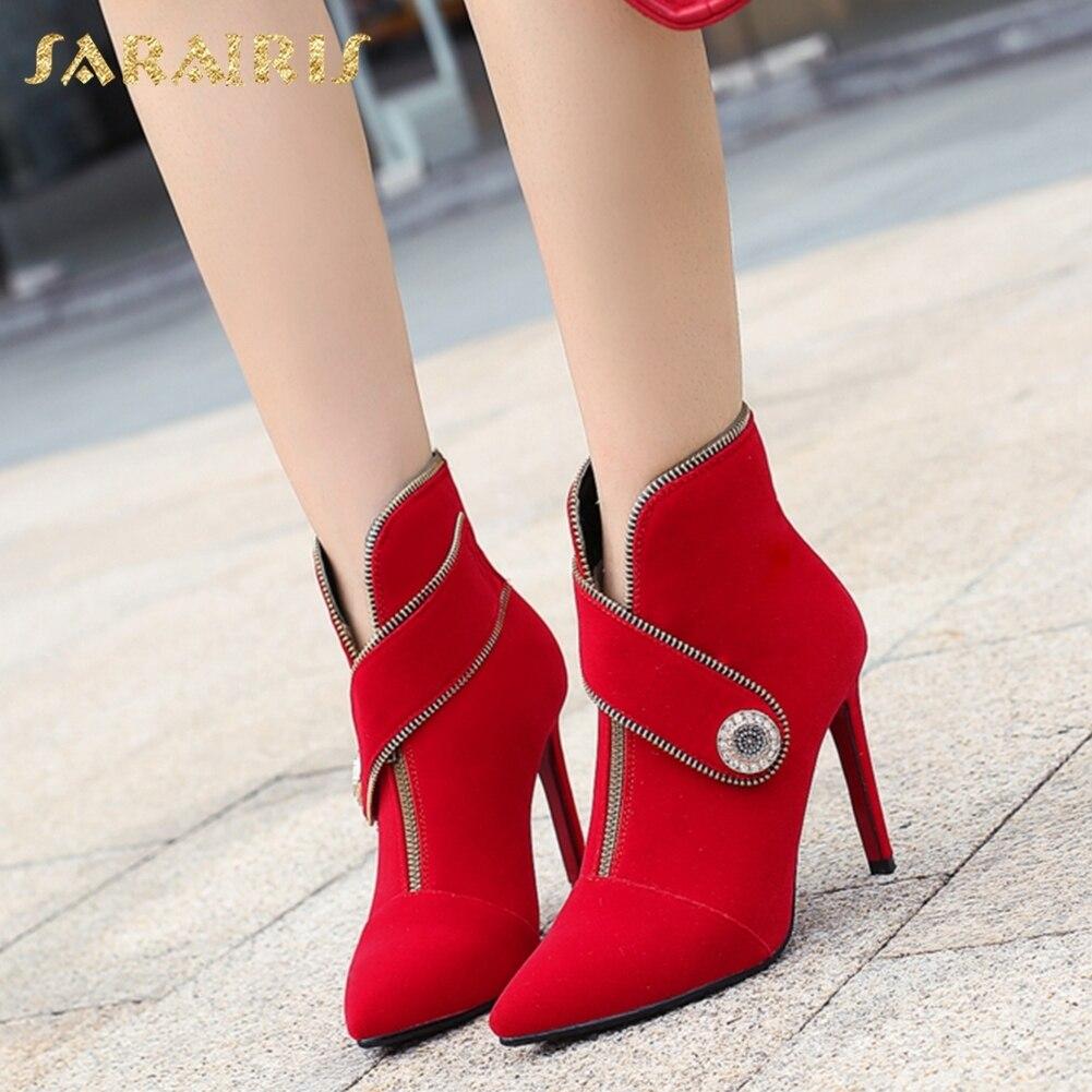 Cheville 33 Pointu rouge En Hauts Rouge Noir Bout Sarairis 2018 Élégant Gros Chaussures Taille 43 Femme Talons Bottes Grande Noir 54AqcjR3L
