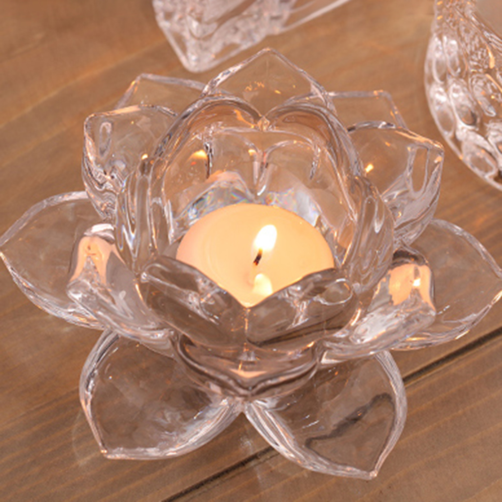 Handmade Crystal Lotus Flower Candle Holders 7 Colors Candlestick