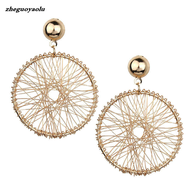 2019 Korean Version Of The Simple Design Sense Of Gold Geometric Round Thread Winding Exaggerated Pendant Earrings Women Jewelry