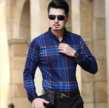 2016 winter new men long-sleeved shirts, business leisure plaid striped shirt, mens cotton easy-care Fashion square collar Dress