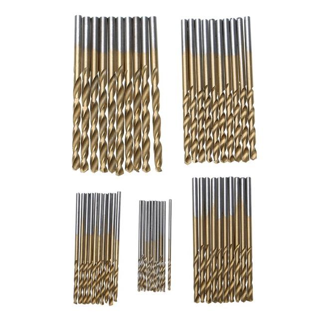 50Pcs HSS Titanium Coated Drill Bits High Speed Steel Drill Bit Set High Quality Power Drilling Tools for Wood 1/1.5/2/2.5/3mm