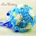 New Arrival Blue Wedding Bouquet Artificial Rose Flowers Handmade Decorative Bride Bridal Accents Wedding Bouquet for Brides
