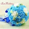 Nueva Llegada Azul de La Boda Bouquet Artificial Rose Flores Acentos Decorativos Hechos A Mano de La Novia Nupcial Ramo De La Boda para Las Novias