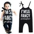 Da Criança do bebê Crianças Carta Impressão Suspender Rompers Jumpsuit Bodysuit Macacão Infantil Trajes de Roupas de Bebê para 1-7Years