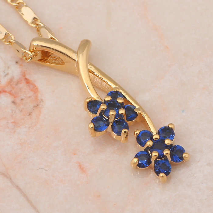 Attractive flower design Gold tone deep blue Zircon crystal Jewelry