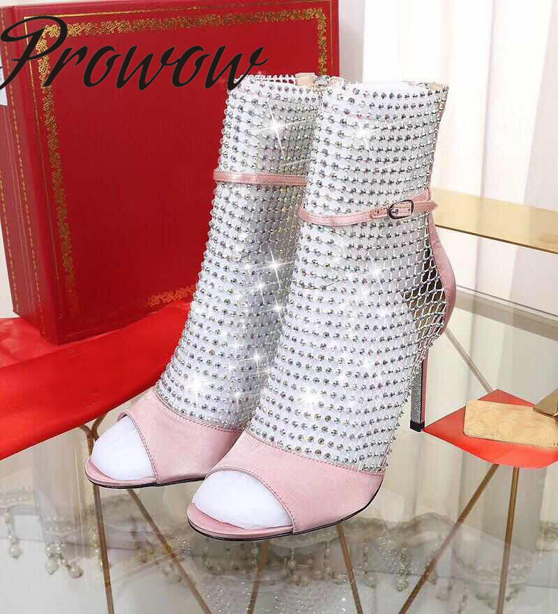 Prowow New Genuine Leather Pink Black Silver Summer Sandals Open Toe Buckle Strap HIgh Heel Sandals Shoes WomenProwow New Genuine Leather Pink Black Silver Summer Sandals Open Toe Buckle Strap HIgh Heel Sandals Shoes Women