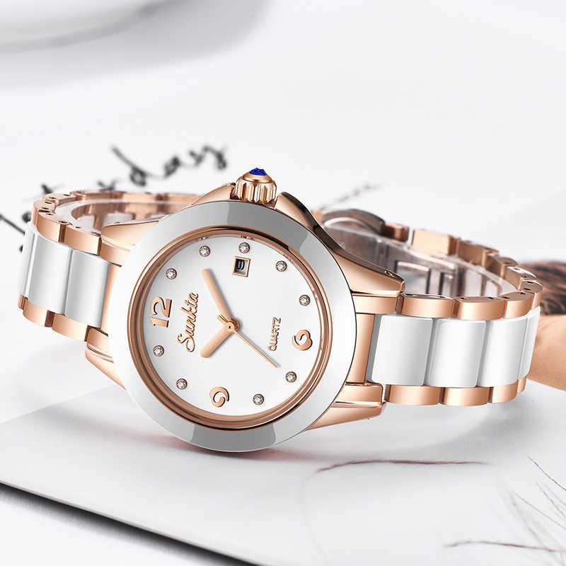 SUNKTA 2019 новые часы из розового золота Женские Кварцевые Часы Дамские Топ брендовые Роскошные женские наручные часы женские часы Relogio Feminino + коробка