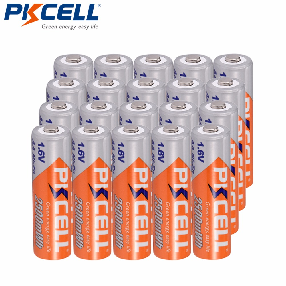 20PCS lot 1 6V AA Battery 2500mWh Ni Zn Rechargeable Battery High Quality Real Capacity