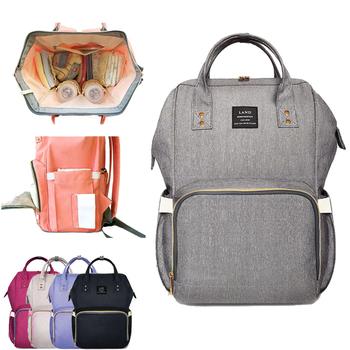 LAND Fashion torba ciążowa Mummy pieluchy Torby marki duża pojemność Baby Bag Travel plecak Design Nursing pieluszki Bag Baby Care tanie i dobre opinie Diaper Bags 42cm Stałe 21cm 27cm 0 6 kg masy ciała (30cm VICIVIYA Poliester Zamek od 0 65 kg