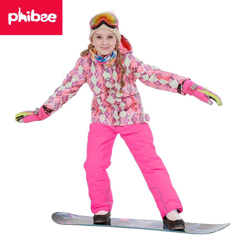 Phibee Free Shipping Winter Outdoor Children Clothing Set Windproof Ski Jackets + Pants Kids Snow Sets Warm Skiing Suit For Girl