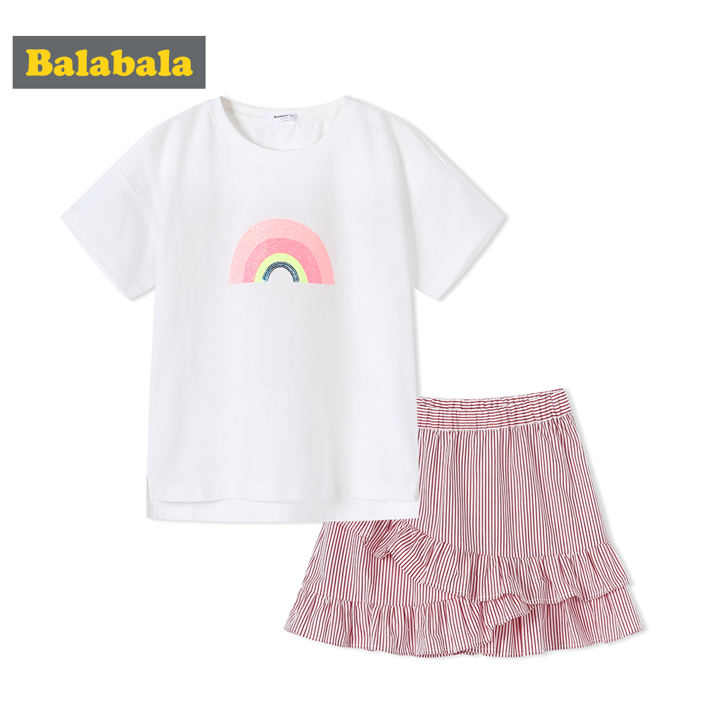 Balabala Girls 2-Piece 100% Cotton Short-sleeved T-shirt with Ribbed Crewneck + Striped Flounced Skirt Set Teenage Girl OutfitsBalabala Girls 2-Piece 100% Cotton Short-sleeved T-shirt with Ribbed Crewneck + Striped Flounced Skirt Set Teenage Girl Outfits