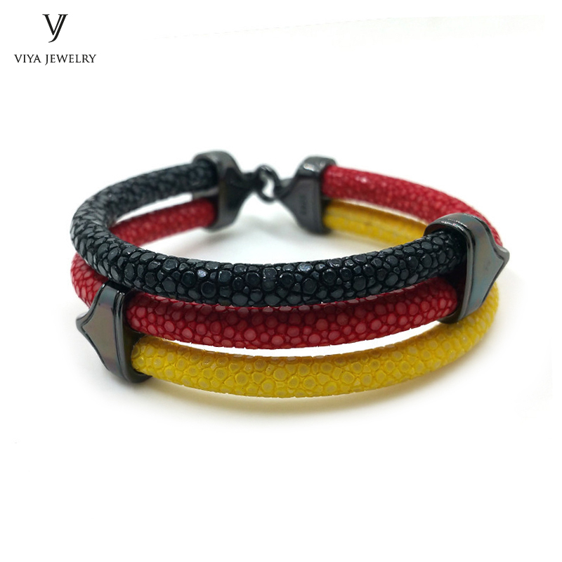 White Red Green 3 Color Mix Colors Stingray Leather Bracelet For Italy Mexico 925 Silver With Gift Box Men In Charm Bracelets From