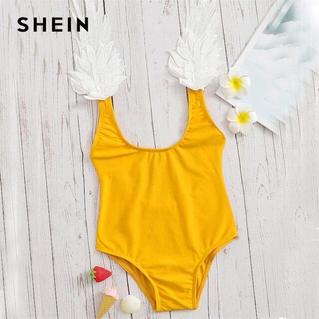 SHEIN Kiddie/Цельный купальник с Желтой Аппликацией и низкой спинкой для маленьких девочек; коллекция 2019 года; летний купальник без рукавов с овальным вырезом для подростков
