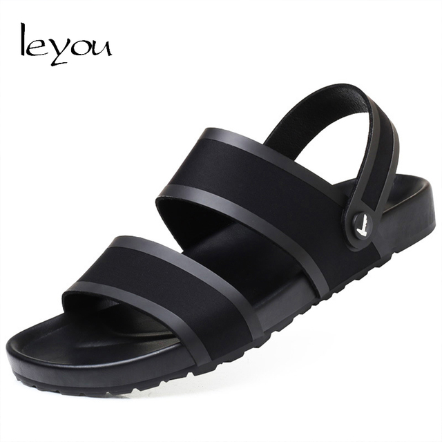 Leyou Men Sandals Shoes Slipper Black Leather Sandals Beach Shoes for Men Summer Flat Shoes Sandalias Hombre