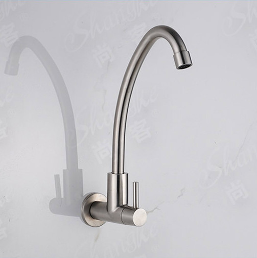 Free Shipping torneira para cozinha 2014 design nickel brushed single cold Stainless steel wall faucet kitchen