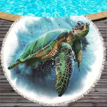 a5bfc864d93a Tartaruga Rodada Polvo 150 cm de Microfibra Toalha de Praia Com Borlas Para  O Verão de Natação Toalhas de Banho toalha de Piquen.