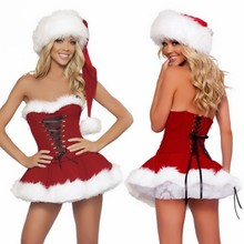 High Quality Imitation Fur Velvet Christmas Dress New Sexy Lingerie Wrap Chest Santa Claus For Adults Cosplay