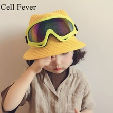 Cute Child Straw Hats Casual Panama Hat with Glasses Sun Summer Cap Kids Solid Beach Caps Children Fashion Ears