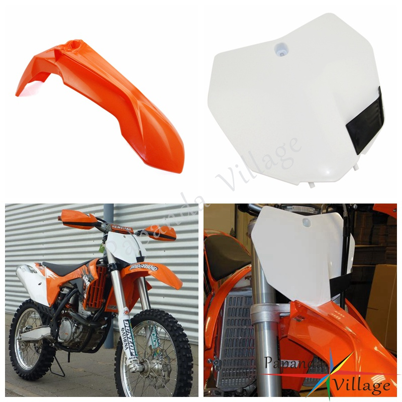 Orange White Motocross Plastic Front Fender Mudguard Front Number Plate Custom for KTM SXF XC XCW EXC EXCF 250 300 <font><b>450</b></font> 2013-2015 image