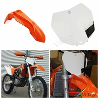 Papanda Orange White Motocross Front Fender Mudguard Front Number Plate for KTM SX F XC XC W EXC EXC F 250 300 450 2013 2015