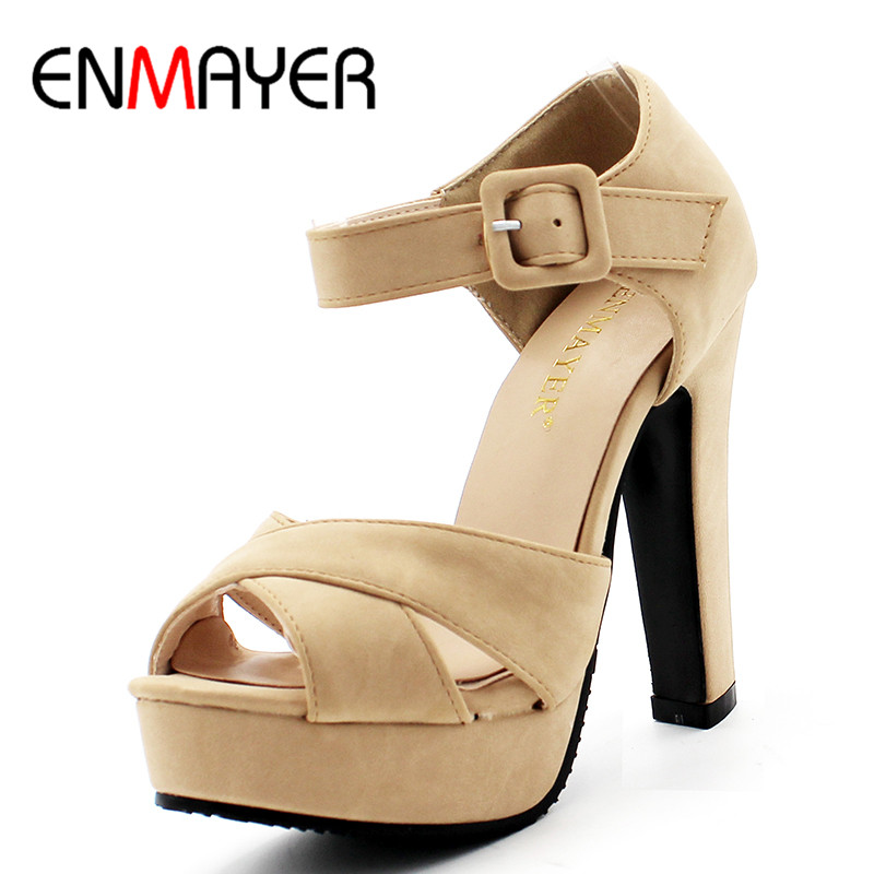 ENMAYER New Ankle Strap Summer Shoes Woman High-heeled Sandals Fashion Women Sandals Wedding Girls Pumps Sandals Big Size 34-43 women sandals 2017 summer gauze high heeled shoes lace fish mouth women sandals fashion summer ankle boots s069