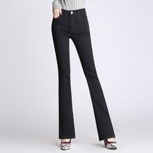 Женские модные джинсы размера плюс, женские Стрейчевые тонкие джинсовые расклешенные брюки, Дышащие Модные расклешенные брюки