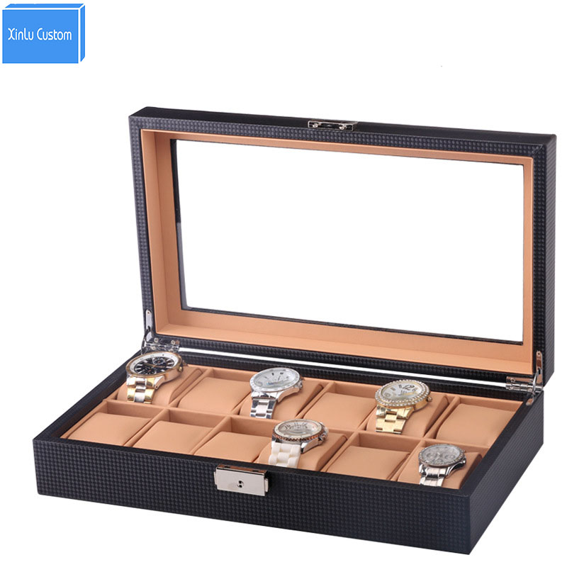 12-Watch Display Box Black Carbon Fiber Design with Glass Top Collection inner Brown PU leather Pillow Luxury Watch Case Window стоимость