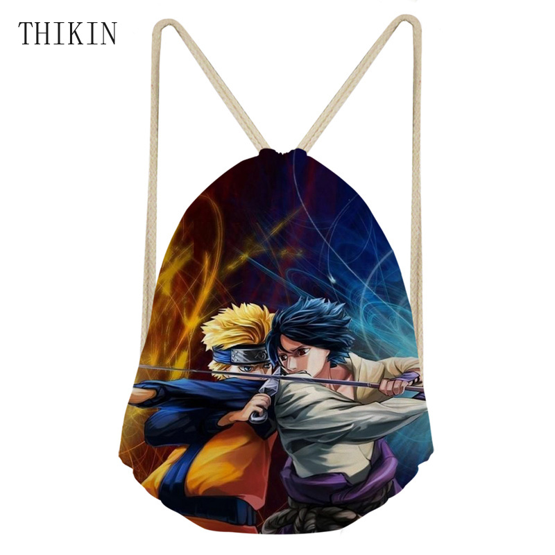 THIKIN Cool Naruto Sasuke Fight Pattern Draw-string Sports Bag Kids Swimming Bag Lightweight Ployester Waterprooof Backpack