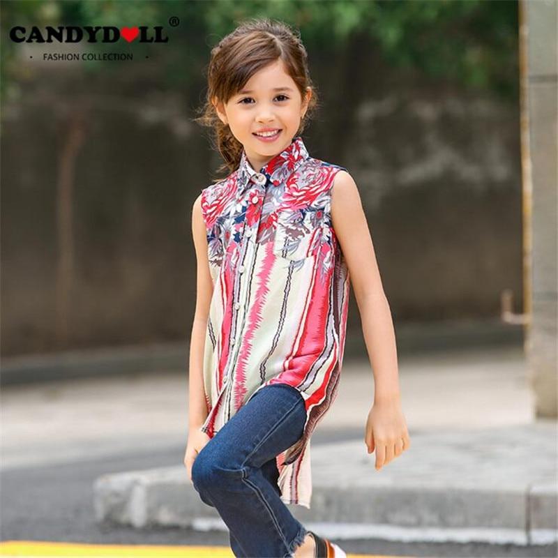 CANDYDOLL 2017 Summer Children Shirt Girls Chiffon Clothes