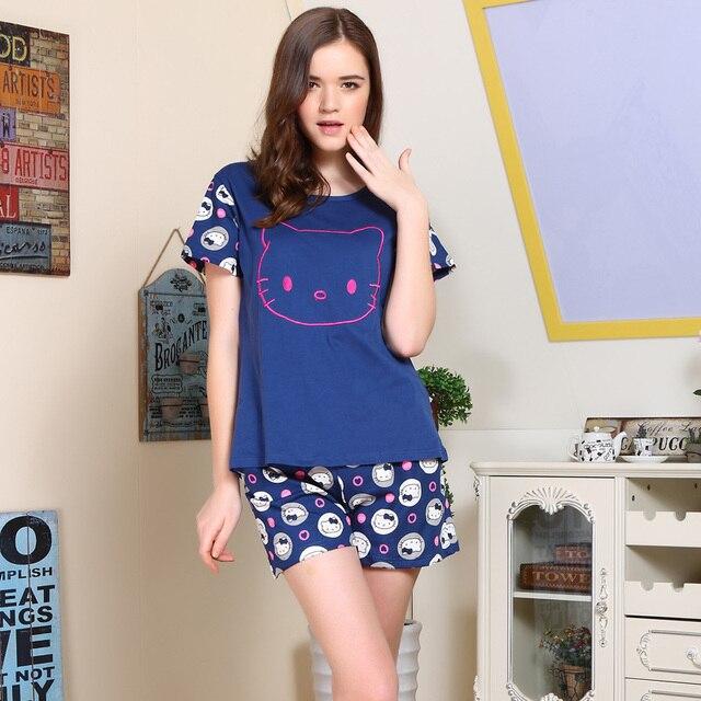 c287be1e8 Pajamas Sets Cute Cartoon Pyjamas Women Short Sleeve Sleepwear Suit 2 piece  Sexy Summer Home Lounge