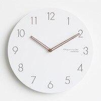 Modern Nordic Wood Wall Clock Minimalist White Hanging Clock Mute Clock Creative Simple Living Room Bedroom Decoration