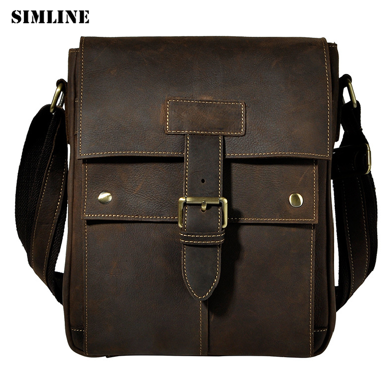 SIMLINE Vintage 100% Crazy Horse Genuine Leather Cowhide Men Men's Messenger Shoulder Crossbody Bag Bags Handbag For Man Male simline 2017 vintage genuine crazy horse leather cowhide men men s messenger bag small shoulder crossbody bags handbags for man