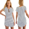 2016 Summer S-XL Women Short Sleeve Crew Neck Striped mini dresses lady vestidos Loose shirt Casual Dress