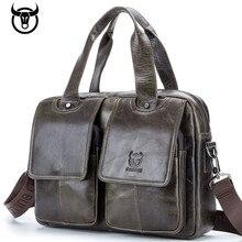 цены Brand Men Briefcase Genuine Leather Messenger Bag Business Laptop Bags Shoulder Handbags for Document vintage Computer bag