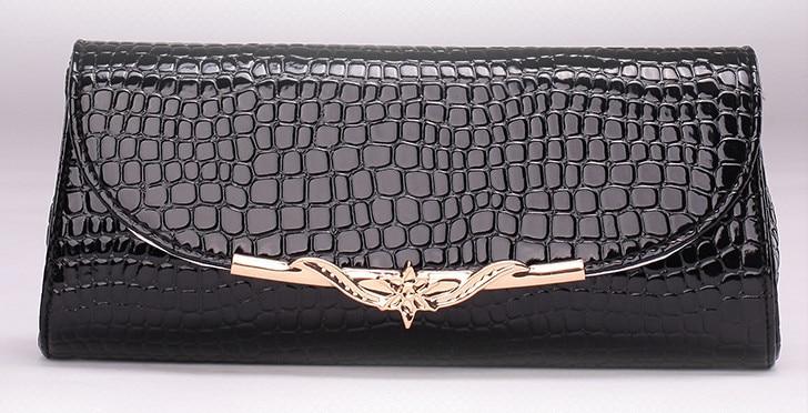 Women Faux PU Leather Shoulder Bag Crocodile Grain <font><b>China</b></font> Flower Casual Ladies Chains Leisure Crossbody Clutch Evening Bags
