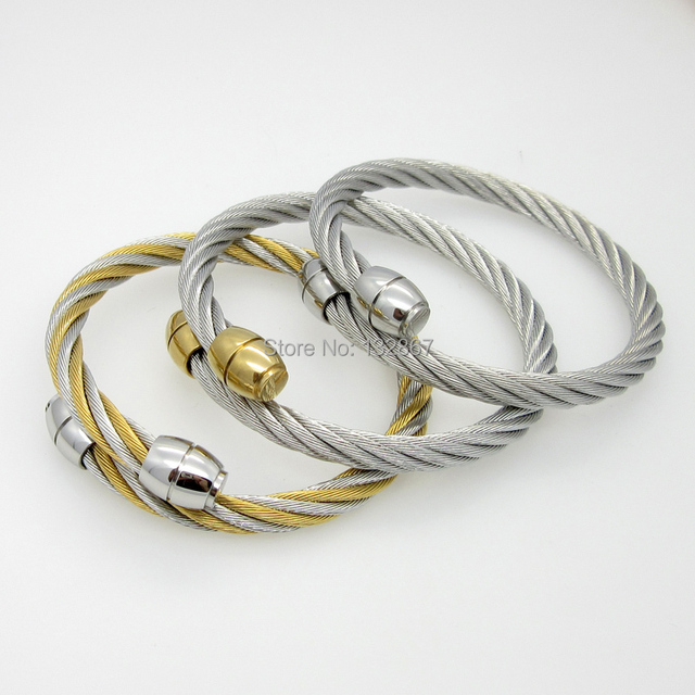 Three Tone High Quality cable twisted wire Bangle Stainless Steel ...