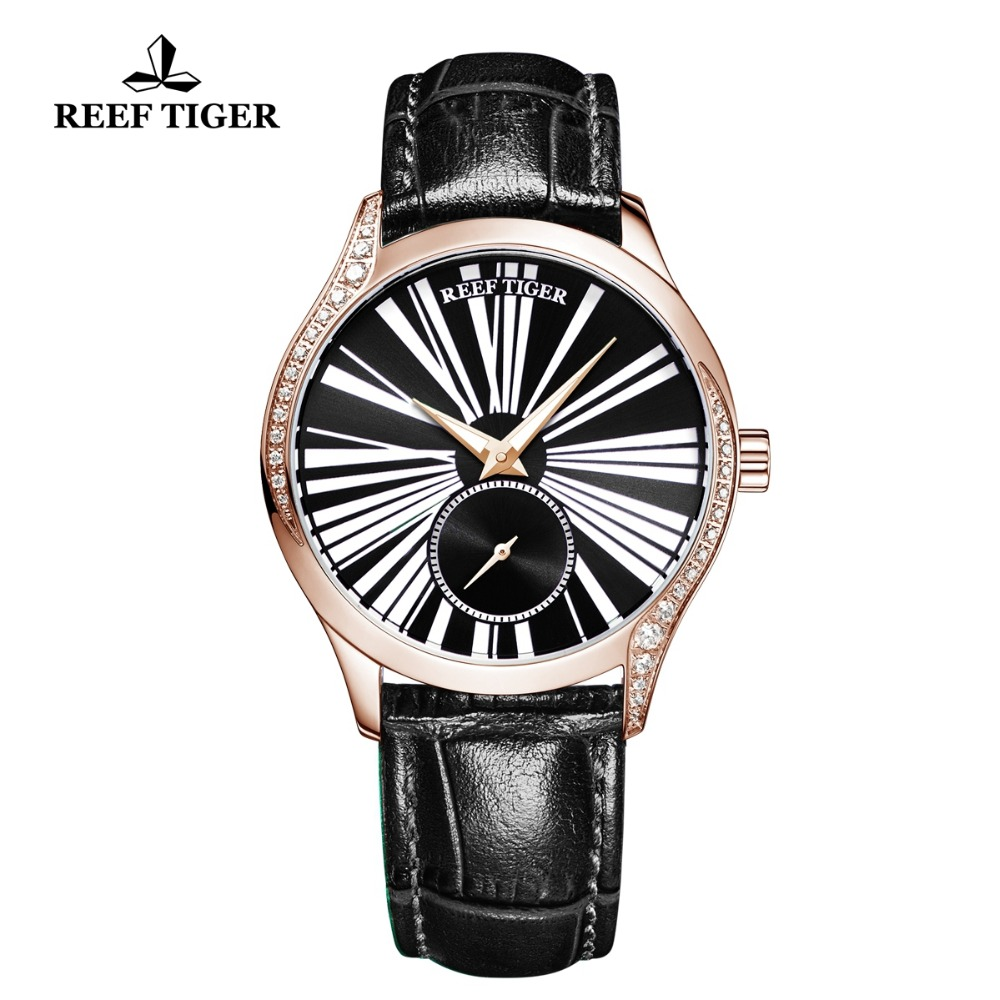 Reef Tiger/RT New Fashion Brand Rose Gold Watch for Women Luxury Casual Automatic Watches Relogio Feminino RGA1561 機械 式 腕時計 スケルトン