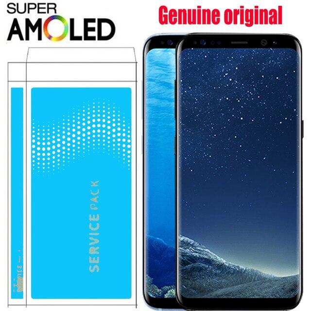 100% الأصلي سوبر AMOLED S8 LCD مع الإطار لسامسونج غالاكسي S8 G950 G950F عرض S8 زائد G955 G955F محول الأرقام بشاشة تعمل بلمس